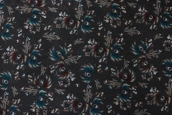 Wolle - Bekleidungsstoff - Blumen - petrol - 88cm breit