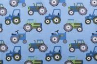 Jersey Baumwolle Stoff - Traktoren - Blau