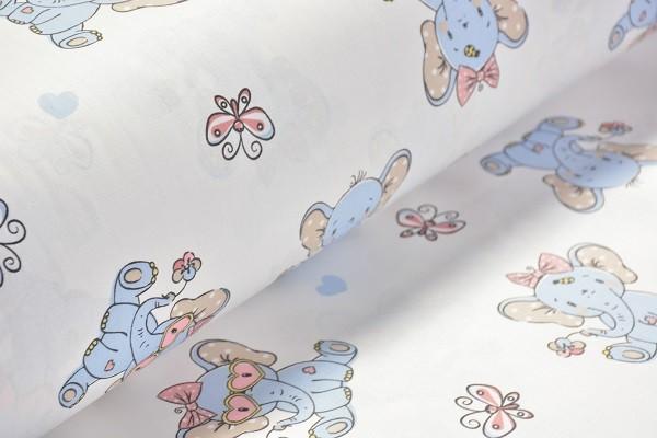 Baumwolle Dekostoff - Elefantenbaby - Blau - 240 cm breit - 9,95 € / 1 Meter