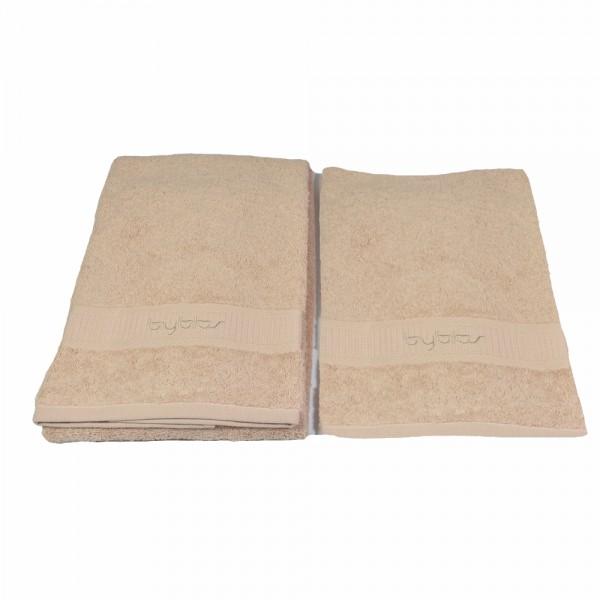 BYBLOS 2-tlg. Handtuch Set , 1 Handtuch 40 x 60 cm / 1 Handtuch 60 x 110 cm / Beige