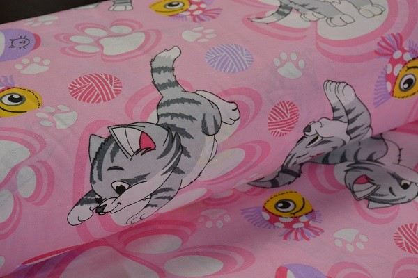 Baumwolle Dekostoff - Comic Kätzchen - Rosa - 240 cm breit - 9,95 € / 1 Meter
