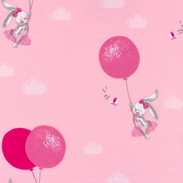 Jersey Baumwolle Stoff - Hase mit Ballon - Rosa