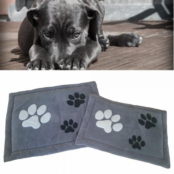 XL Hundekissen / Hundedecke 75 x 95 cm - Pfötchen - Grau_01