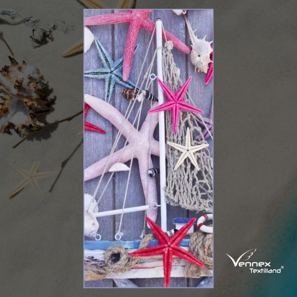 Strandtuch / Duschtuch - Seesterne Purple Light - 75 x 150 cm