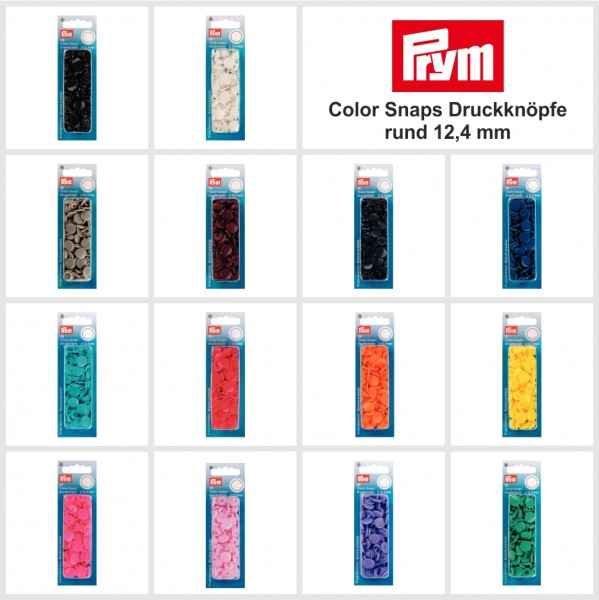 Color Snaps Druckknöpfe - rund 12,4 mm - 14 Farben