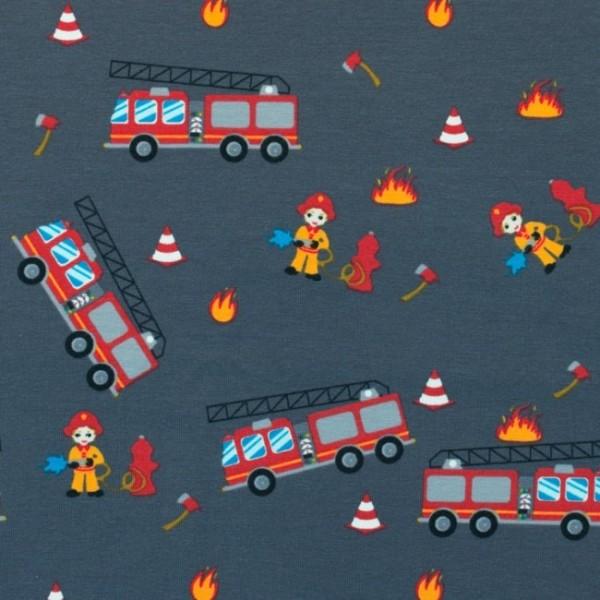 Jersey Baumwolle Stoff - Feuerwehr - Dunkelgrau