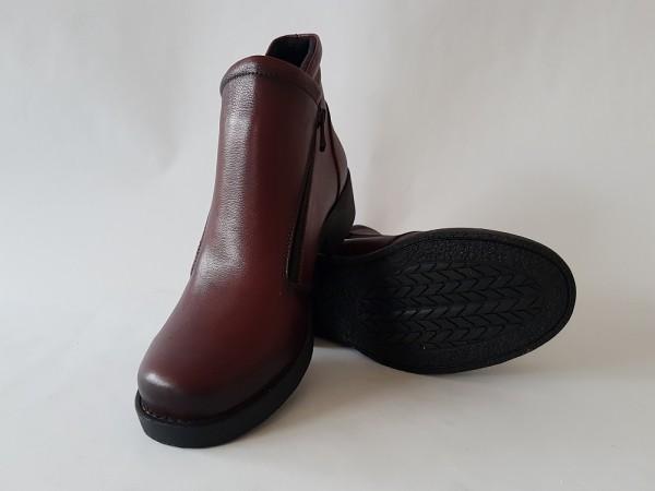 Vennex Textilland Damen Ankle Boots dunkelrot
