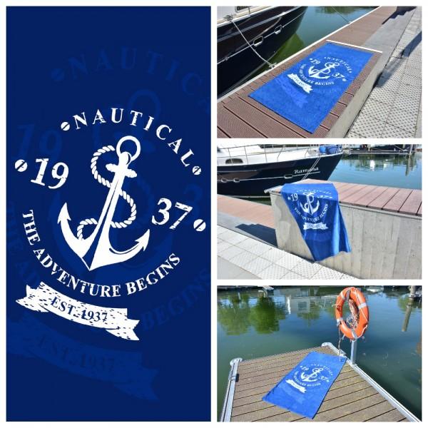Strandtuch / Badetuch - Maritim Nautical Anker - 75 x 150 cm - Blau/ Weiß