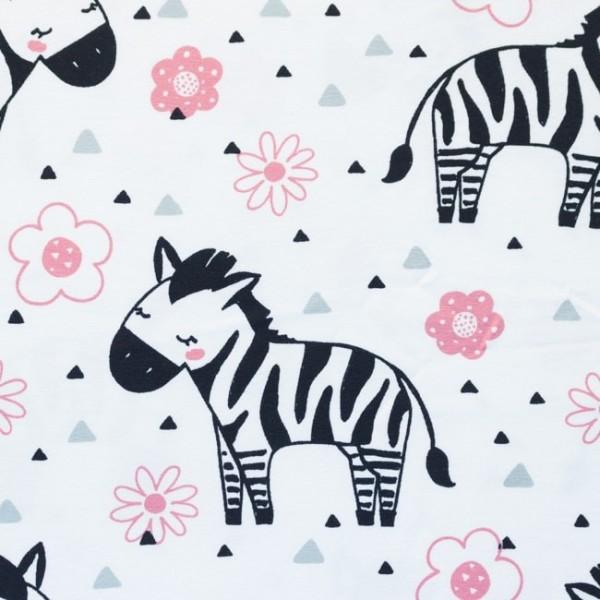 Jersey Baumwolle Stoff - Zebra und Blumen - Weiß