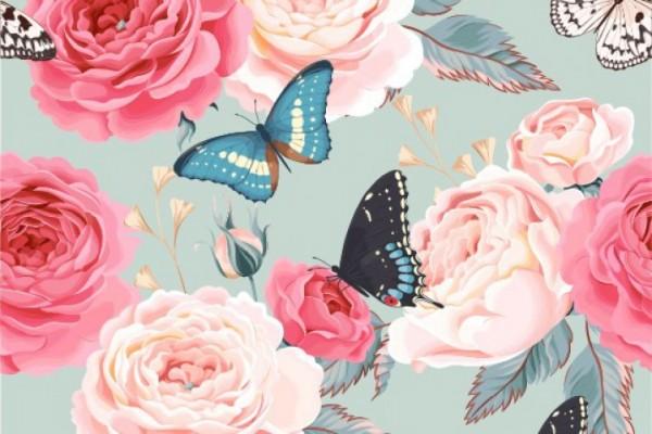 Poly-Baumwolle Stoff - Schmetterlinge und Rosen