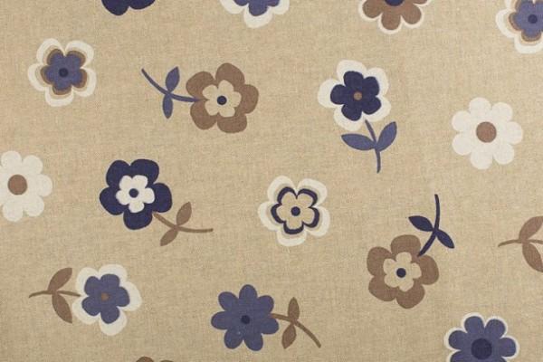 Poly-Baumwolle Stoff - Blumen - Beige Blau