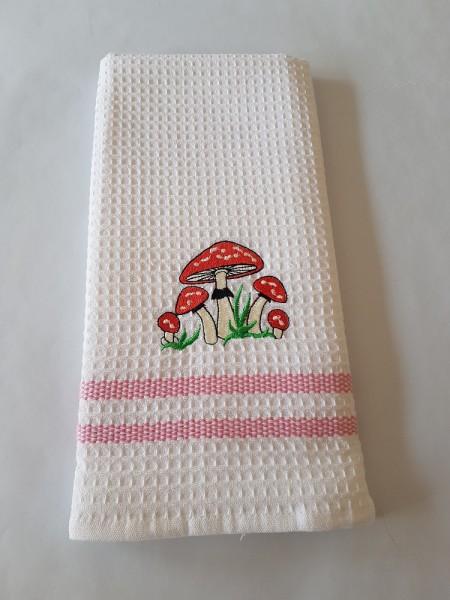 Waffel-Pique Geschirrhandtuch 50 x 70 cm - Farbe weiß / rosa Streifen