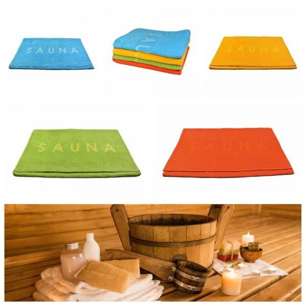 """Saunatuch 80 x 200 cm - Unifarbend mit Schriftzug """"Sauna"""""""