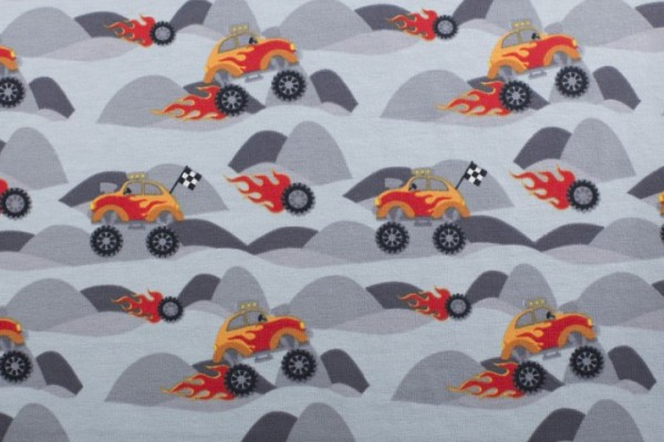 Jersey Baumwolle Stoff - Monstertrucks - Grau