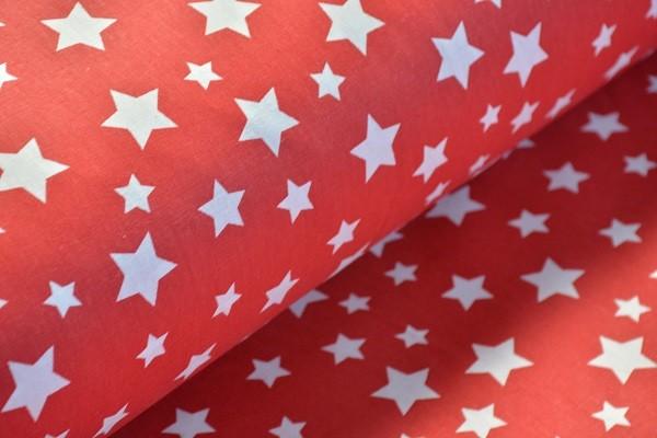Baumwolle Dekostoff - Sterne - Rot/Weiß - 240 cm breit - 12,95 € / 1 Meter