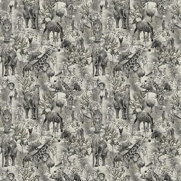 Baumwolle Dekostoff - Afrika Jungel - Grau_01