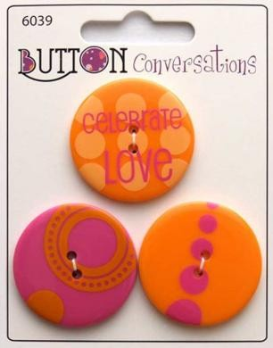 Button Conversations - Orange-Pink