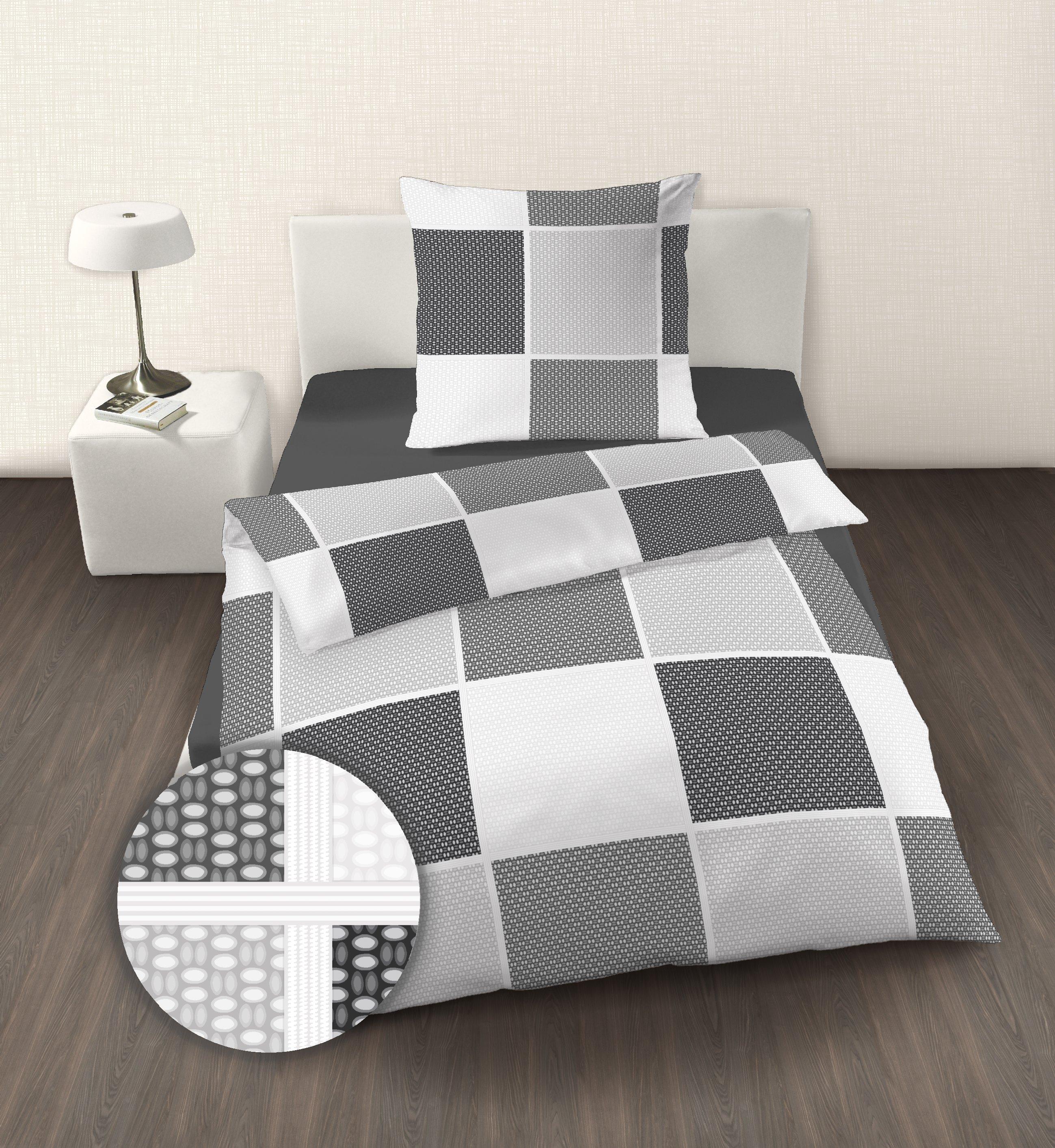 premium feinbiber bettw sche karo schwarz wei vennex. Black Bedroom Furniture Sets. Home Design Ideas