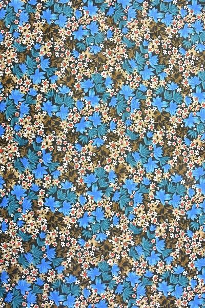 Popeline Baumwolle - Blüten und Blätter - Blau - 6,00 € / 1 Meter