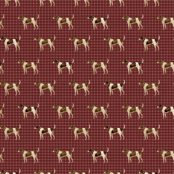 Popeline Baumwolle Dekostoff - Landhaus Hunde - Dunkelrot