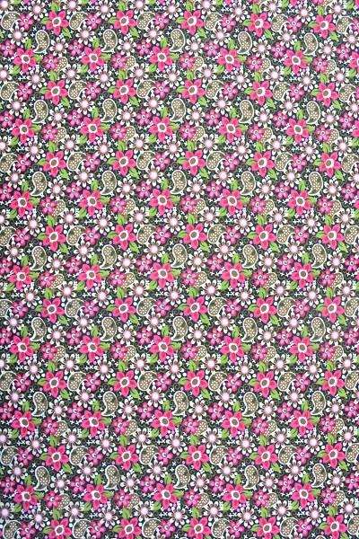 Popeline Baumwolle -Ornament und Blume - Fuchsia-Braun-Grün - 4,95 € / 1 Meter
