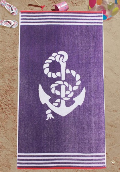 Strandtuch Maritim 75 x 150 cm - Purple - Anker
