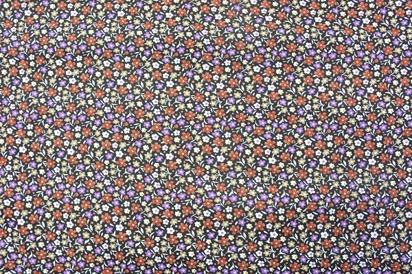 Popeline Baumwolle Bekleidungsstoff - Streublumen - Braun