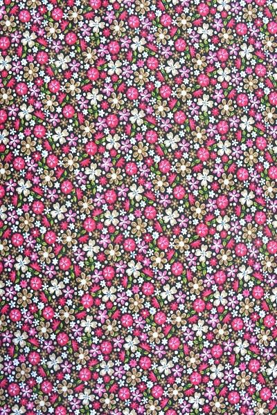 Popeline Baumwolle - Blumenwiese - Pink - 4,95 € / 1 Meter