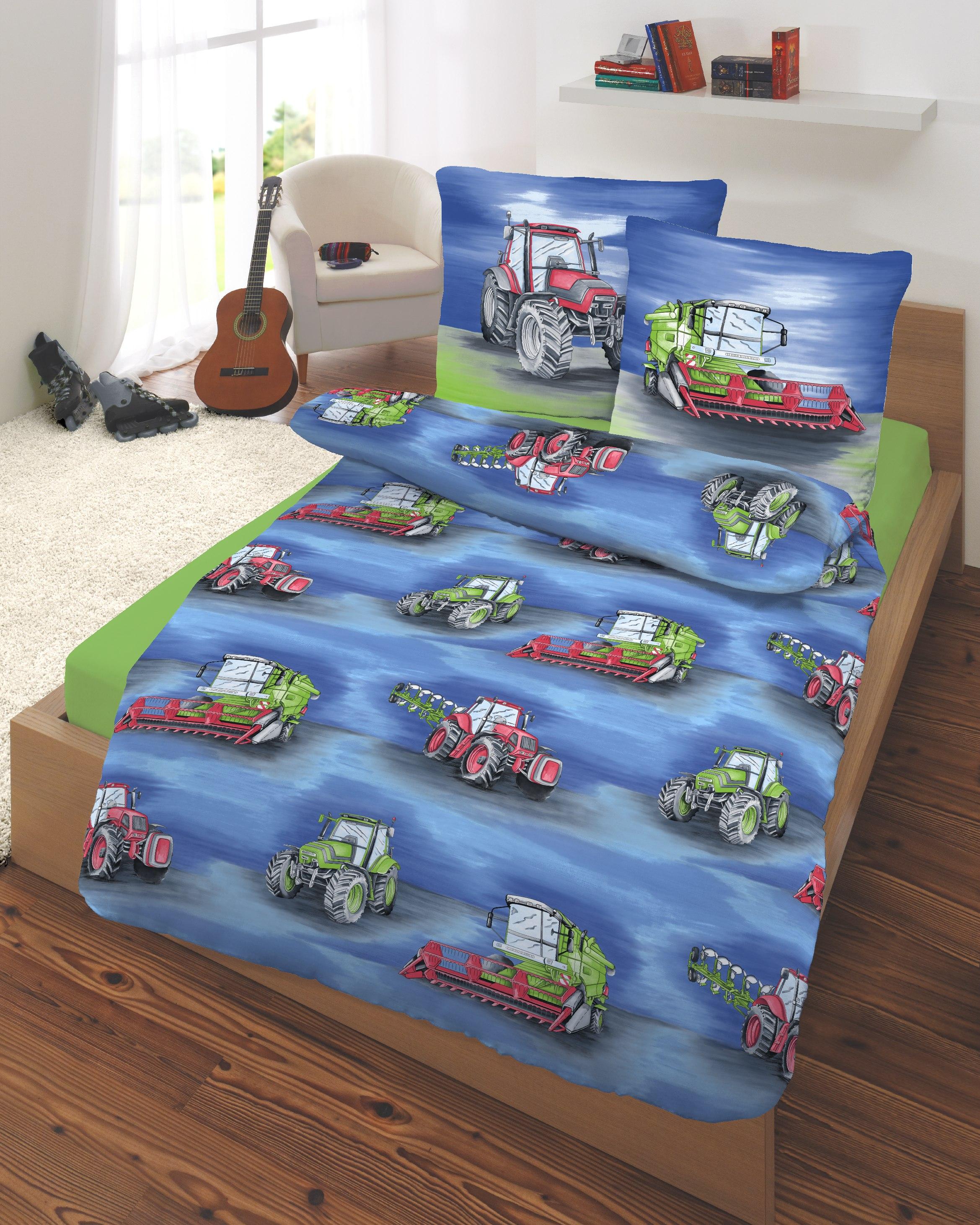 Feinbiber Bettwäsche Bettgarnitur 135x20080x80 Cm Traktor Bunt Ebay