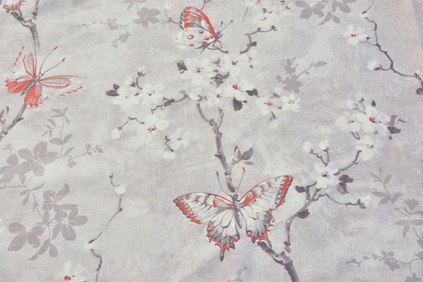 Baumwolle Dekostoff - Kirschblüte - Grau/Weiß/Rot - 240 cm breit - 5,95 € / 1 Meter