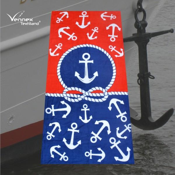 Strandtuch / Badetuch - Ankerregen - 75 x 150 cm - Blau/ Weiß/ Rot
