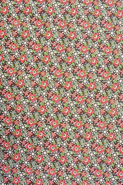 Popeline Baumwolle -Ornament und Blume - Rot-Grün-Braun - 6,00 € / 1 Meter