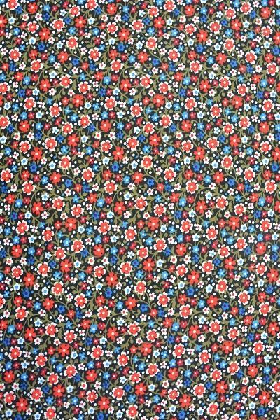 Popeline Baumwolle - Blumenwiese - Blau - 4,95 € / 1 Meter