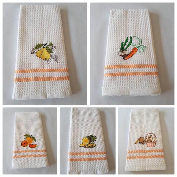Waffel-Pique Geschirrhandtuch 50 x 70 cm - Farbe weiß / orange Streifen