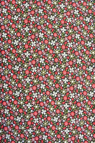 Popeline Baumwolle - Blumenwiese - Rot - 6,00 € / 1 Meter