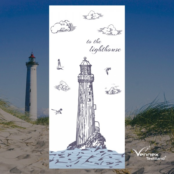 Strandtuch / Duschtuch - Leuchtturm - to the lighthouse - 75 x 150 cm