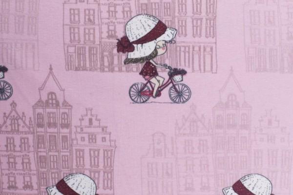 Jersey Baumwolle Stoff - Kleine Fahrradlady - Rosa