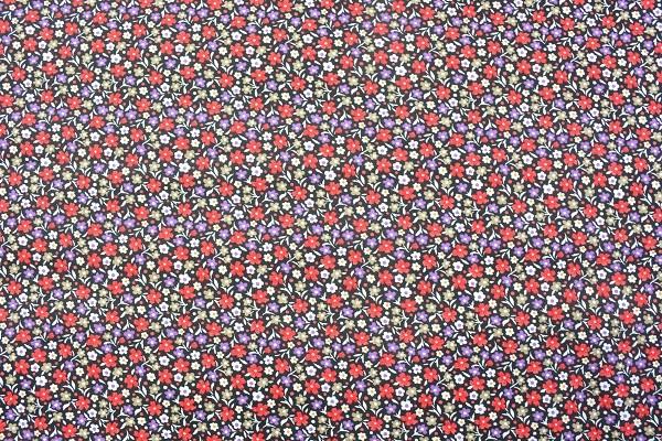 Popeline Baumwolle - Streublumen - Rot - 6,00 € / 1 Meter