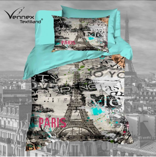 Renforcé Wendebettwäsche - Paris Lifestyle - Grau/ Türkis