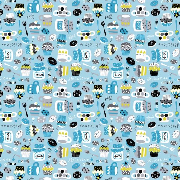 Perkal Baumwolle Dekostoff - Süße Küche - Blau