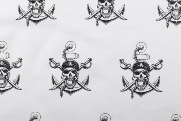 Jersey Baumwolle Stoff - Piratenschädel - Weiß