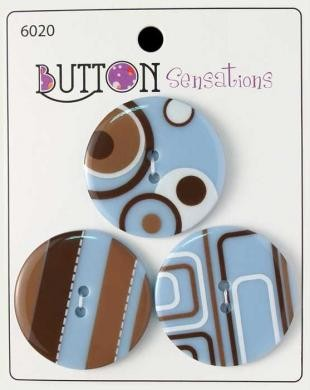 Button Sensations - Blau-Braun - 33 mm