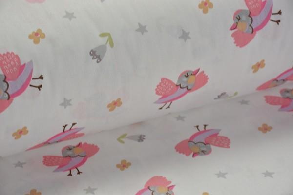 Baumwolle Dekostoff - Vögel - Rosa - 240 cm breit - 9,95 € / 1 Meter