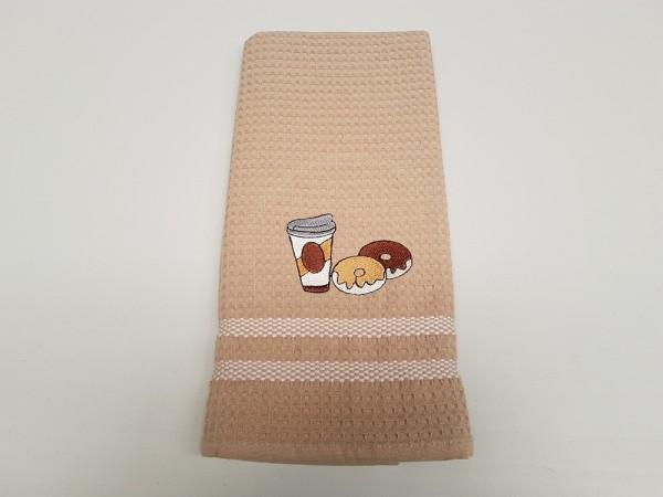 Waffel-Pique Geschirrhandtuch 50 x 70 cm - Farbe beige mit verschiedenen Motiven