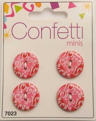 Knopf Confetti Minis Love - Rosa-Rot - Durchmesser 2 cm