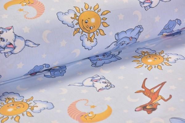 Baumwolle Dekostoff - Vergnügte Tierwelt - Blau - 240 cm breit - 9,95 € / 1 Meter