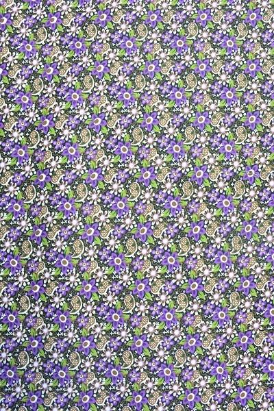 Popeline Baumwolle -Ornament und Blume - Lila-Braun-Grün - 6,00 € / 1 Meter