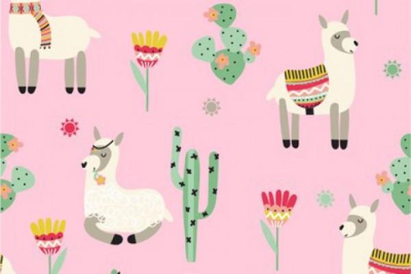 Jersey Baumwolle Stoff - Lama - Rosa