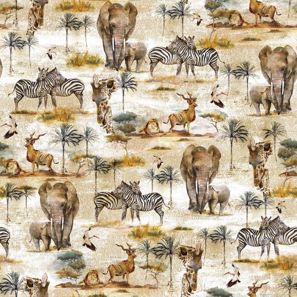 Baumwolle Dekostoff - Afrika Safari - Natur_01