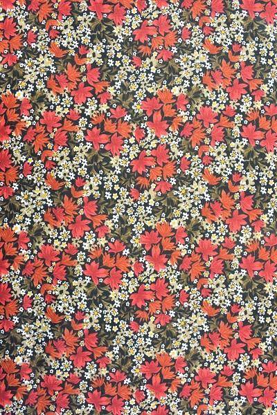 Popeline Baumwolle - Blüten und Blätter - Rot - 6,00 € / 1 Meter
